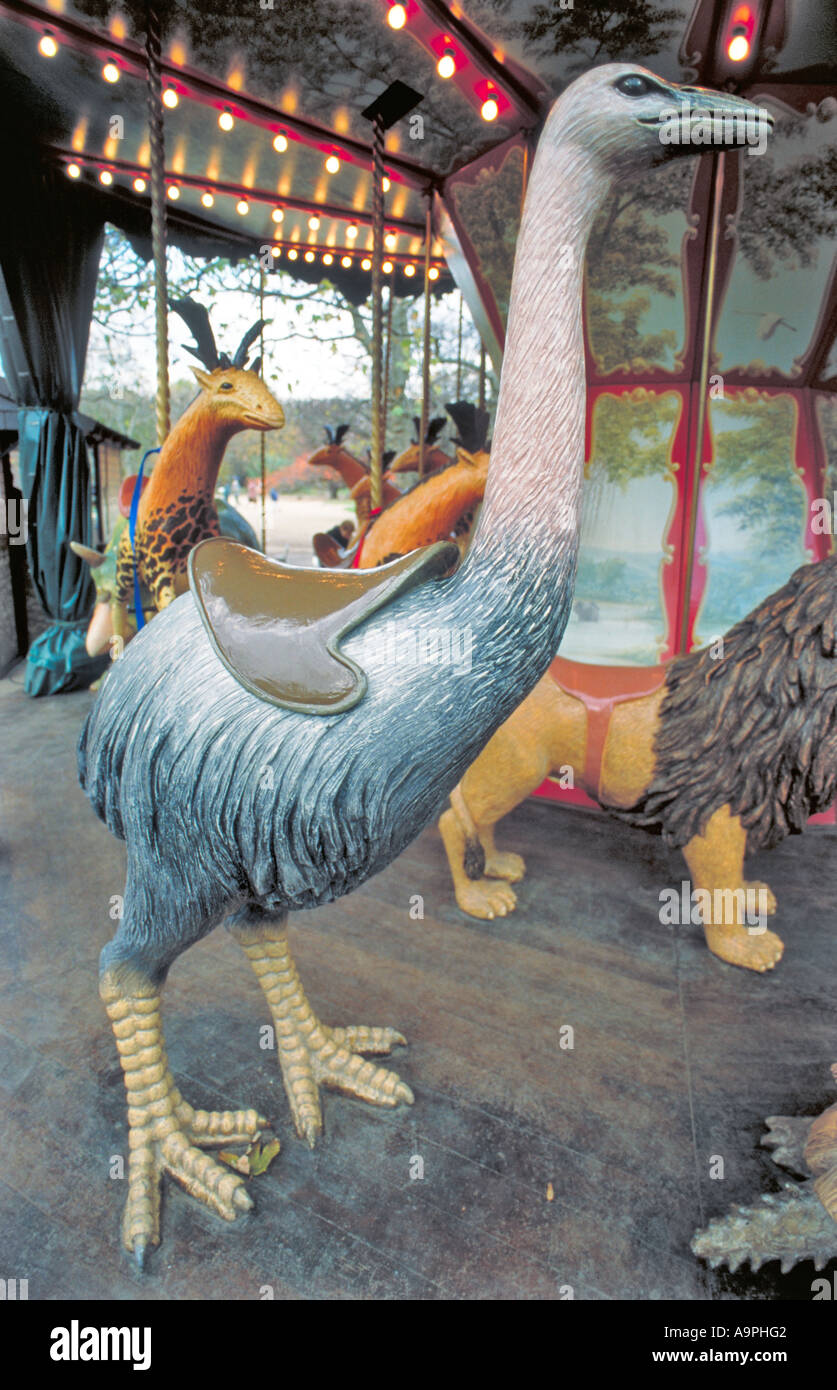 Paris France, Urban Park, Extinct  Merry go Round, Carrousel, Children's Ride 'The Garden Museum Natural History' 'Do do Bird' Off the beaten track - Stock Image