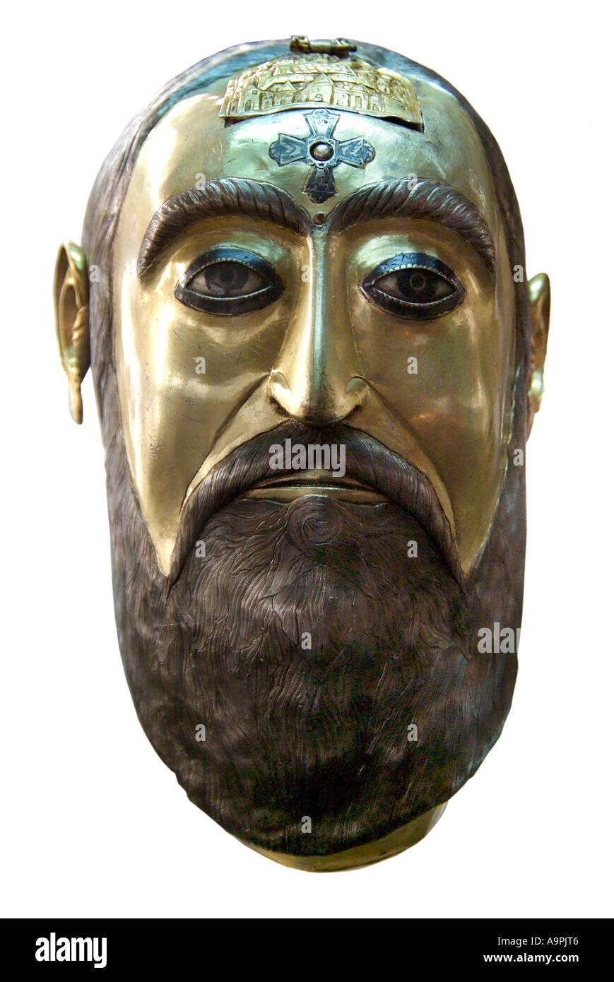 Gilt gold bronze face mask head Slavonic Russia Russian Bulgarian Serbian Serbo Croatia Croat Apostle Slav slavia treasure - Stock Image