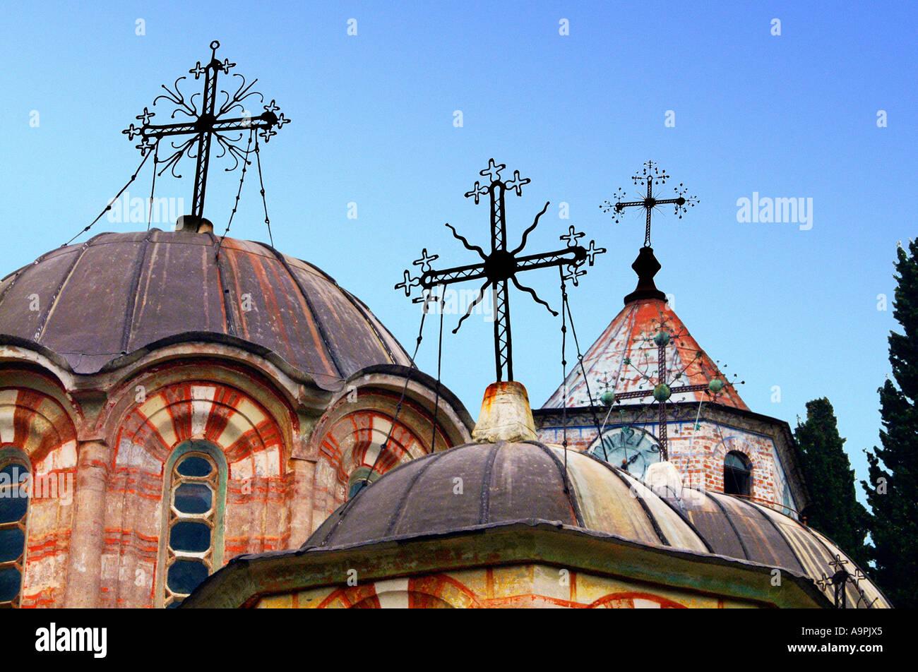 Zografos zografou zograf zografski manastir Monastery mount mountain athos Greece Greek orthodox Christian church EU Europe 9th - Stock Image