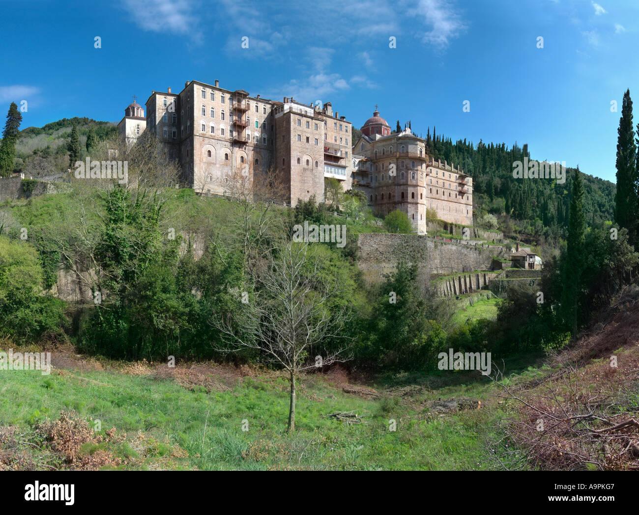 Zografos mount athos Greece Greek orthodox Christian Monastery church retreat holy protected remote isolated 9th rank EU Europe - Stock Image