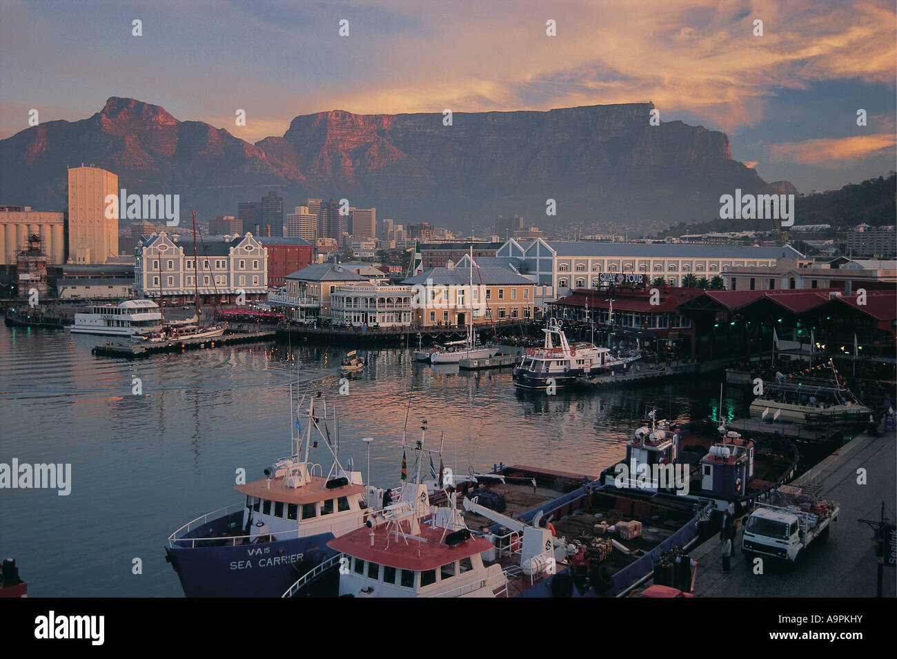 Early evening view of Alfred and Victoria Waterfront Cape Town South Africa - Stock Image