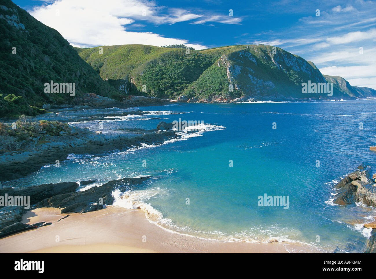 A beautiful bay on the Garden Route Tsitsikamma National Park South Africa - Stock Image
