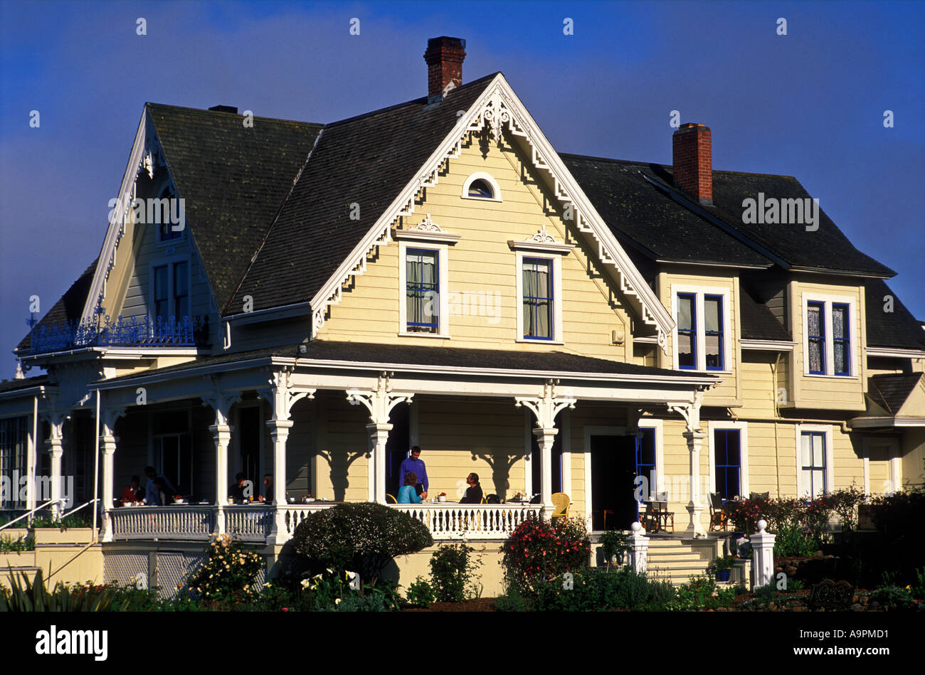 USA California Mendocino Victorian house used as a bed and breakfast - Stock Image