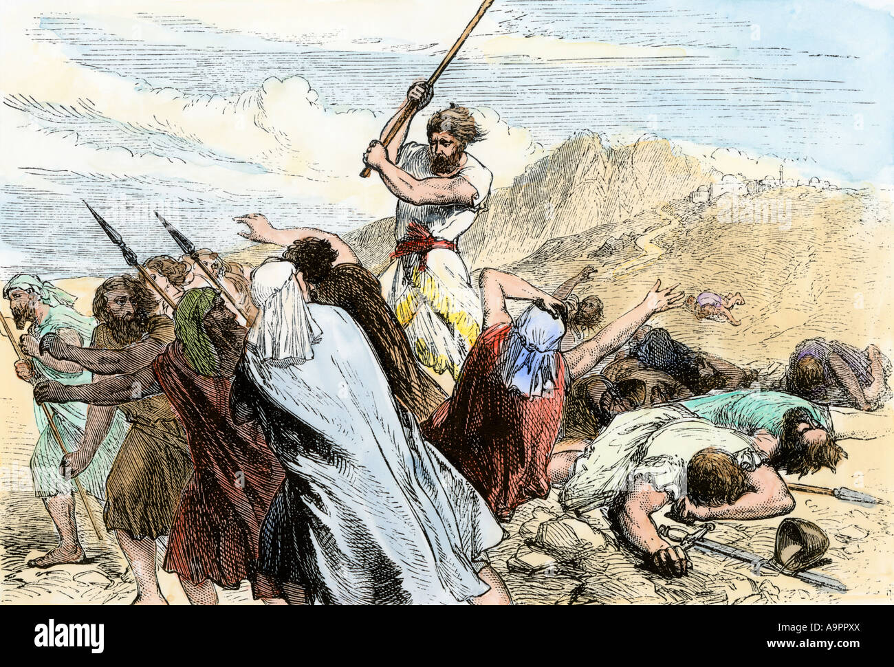 Hebrew warriors slaying Philistines in capturing the ancient city of Jericho circa 1400 BC. Hand-colored woodcut Stock Photo