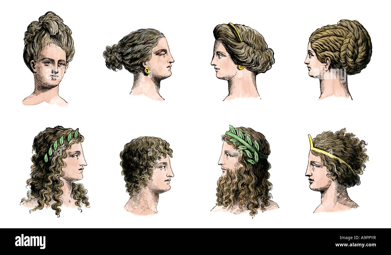 Ancient Greek hairstyles of women top row and men bottom row. Hand-colored woodcut - Stock Image