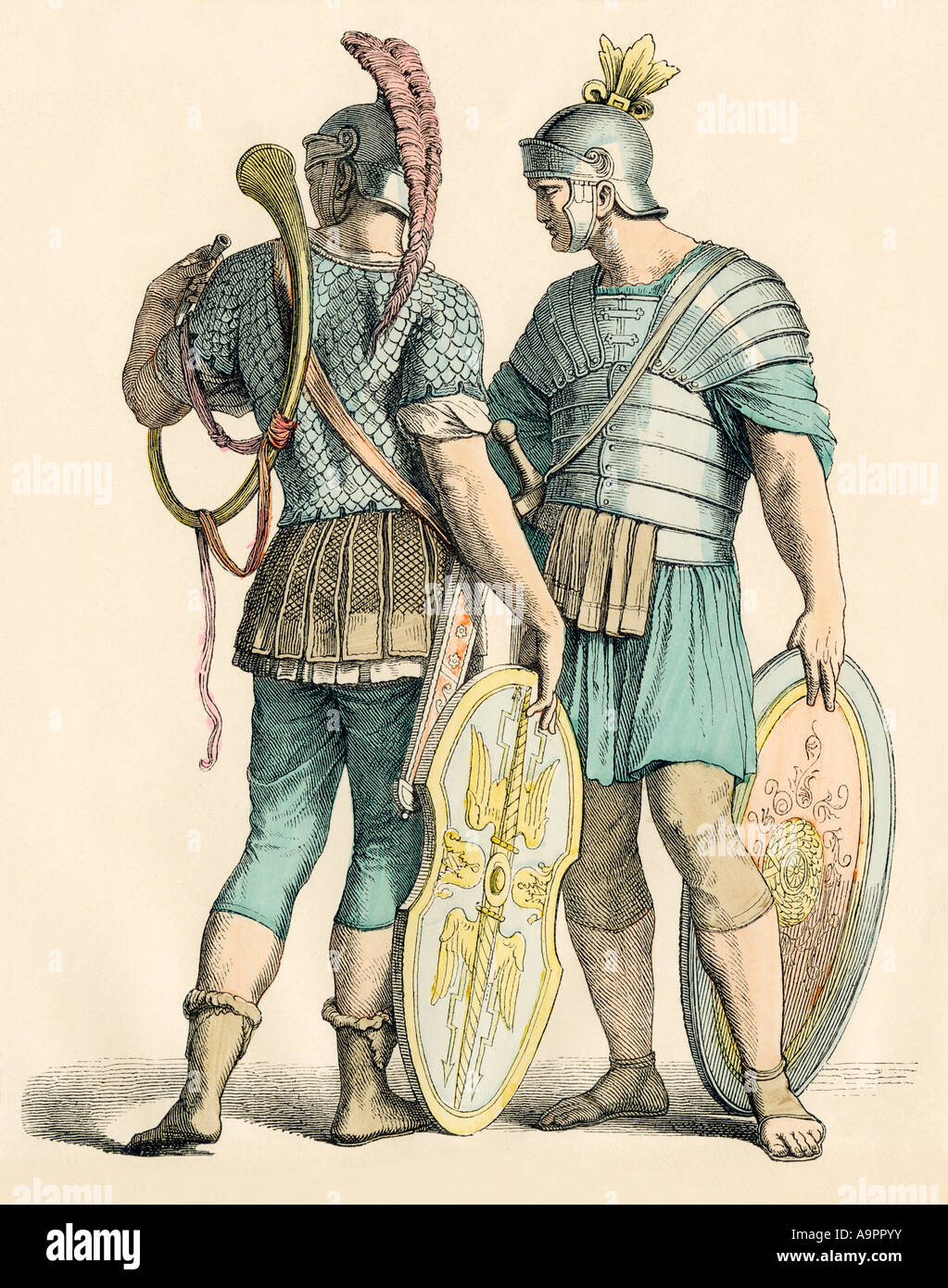 Roman soldiers. Hand-colored print - Stock Image