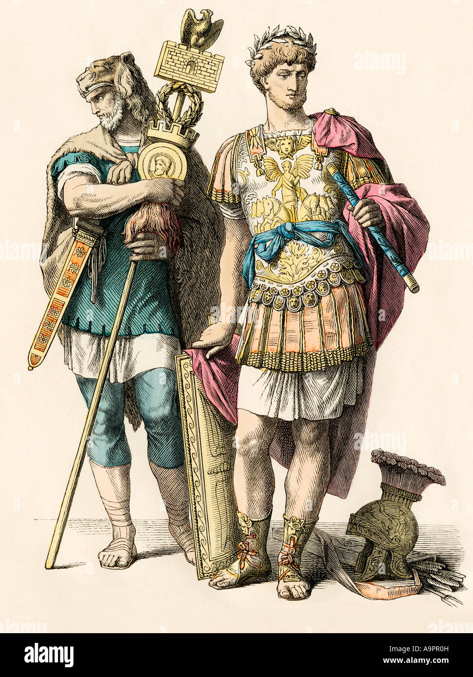 Roman general accompanied by a German warrior. Hand-colored print - Stock Image