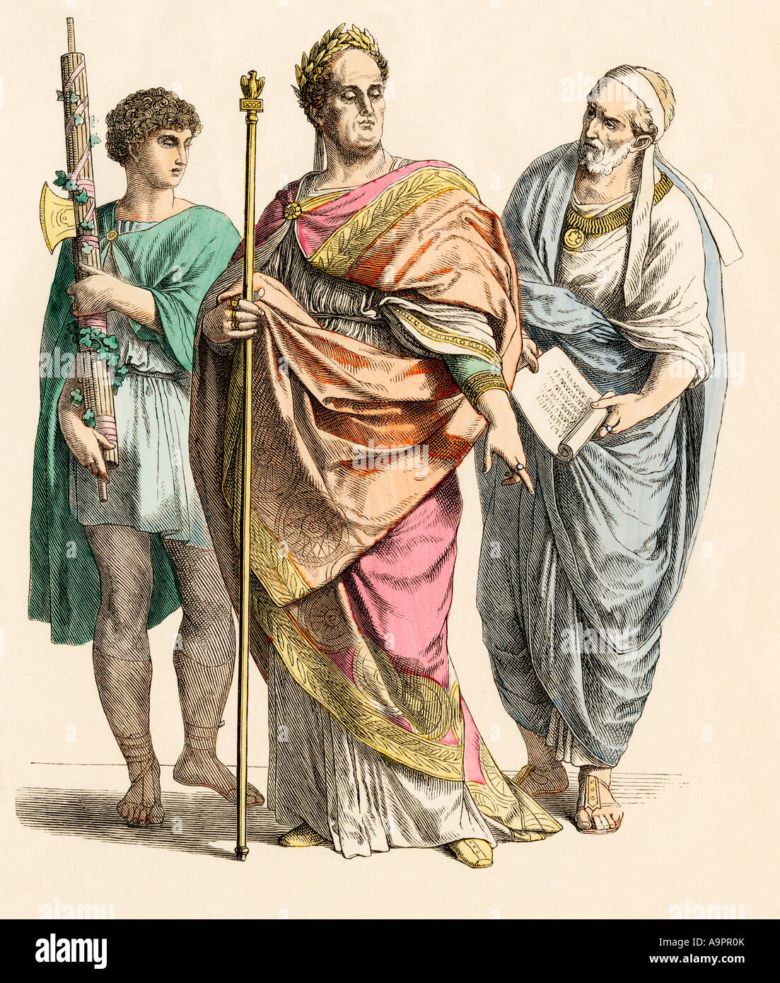 Roman emperor with lictor bearer and poet. Hand-colored print - Stock Image