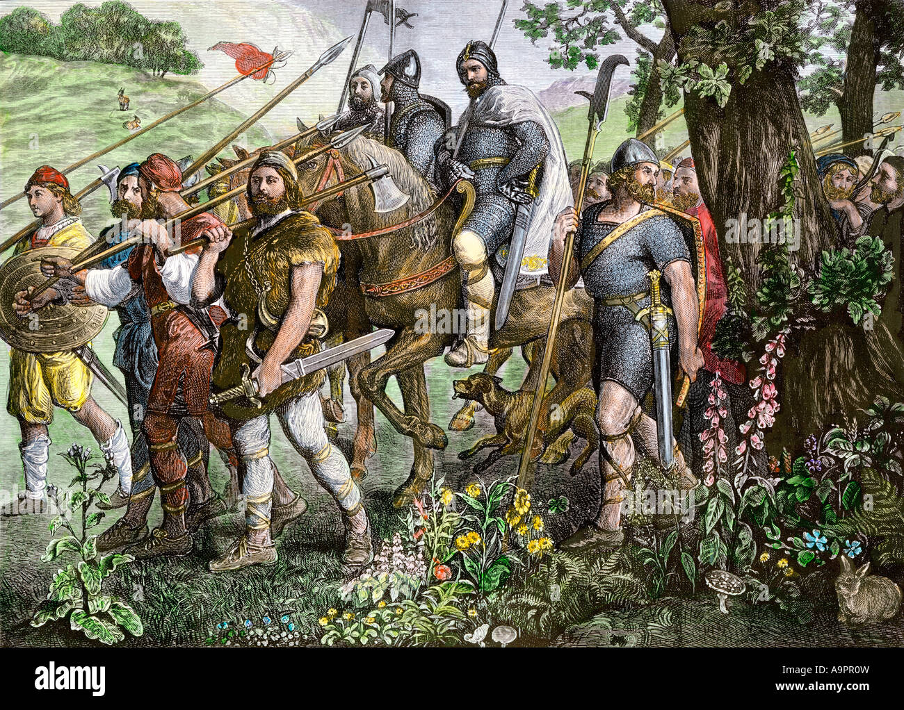 Men of Kent marching to defend England from the Norman invasion 1066. Hand-colored woodcut - Stock Image