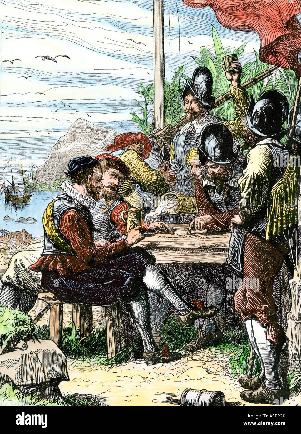 Sir Walter Raleigh and his expedition at Trinidad off South America 1595. Hand-colored woodcut - Stock Image