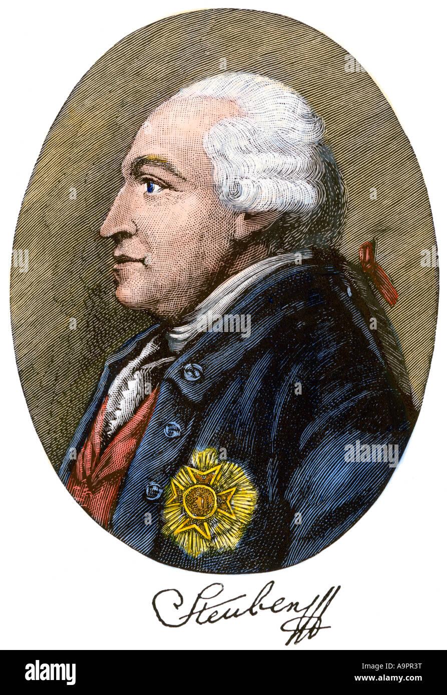 Friedrich Wilhelm von Steuben with his autograph. Hand-colored woodcut - Stock Image