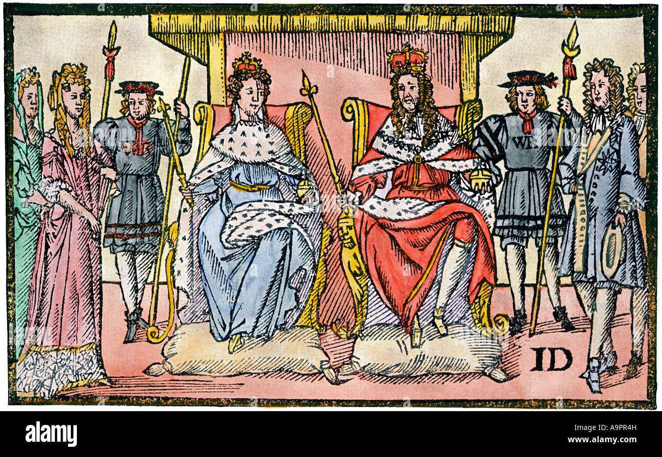 William and Mary the Protestants Joy ruling England after the Glorious Revolution 1688. Hand-colored halftone of - Stock Image