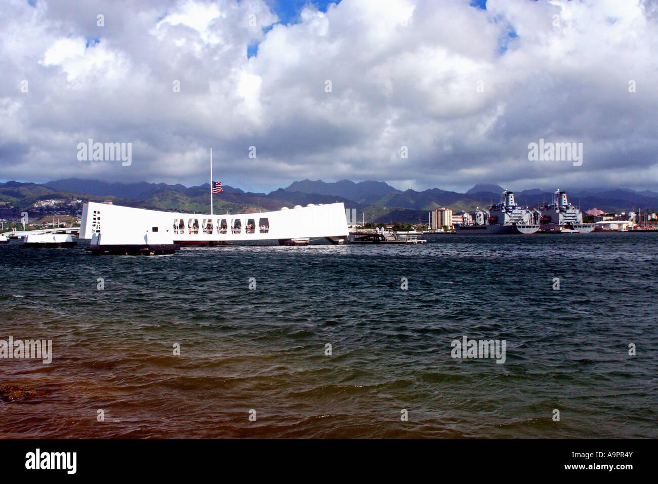USS Arizona National Monument and cemetery Pearl Harbor Hawaii Stock Photo