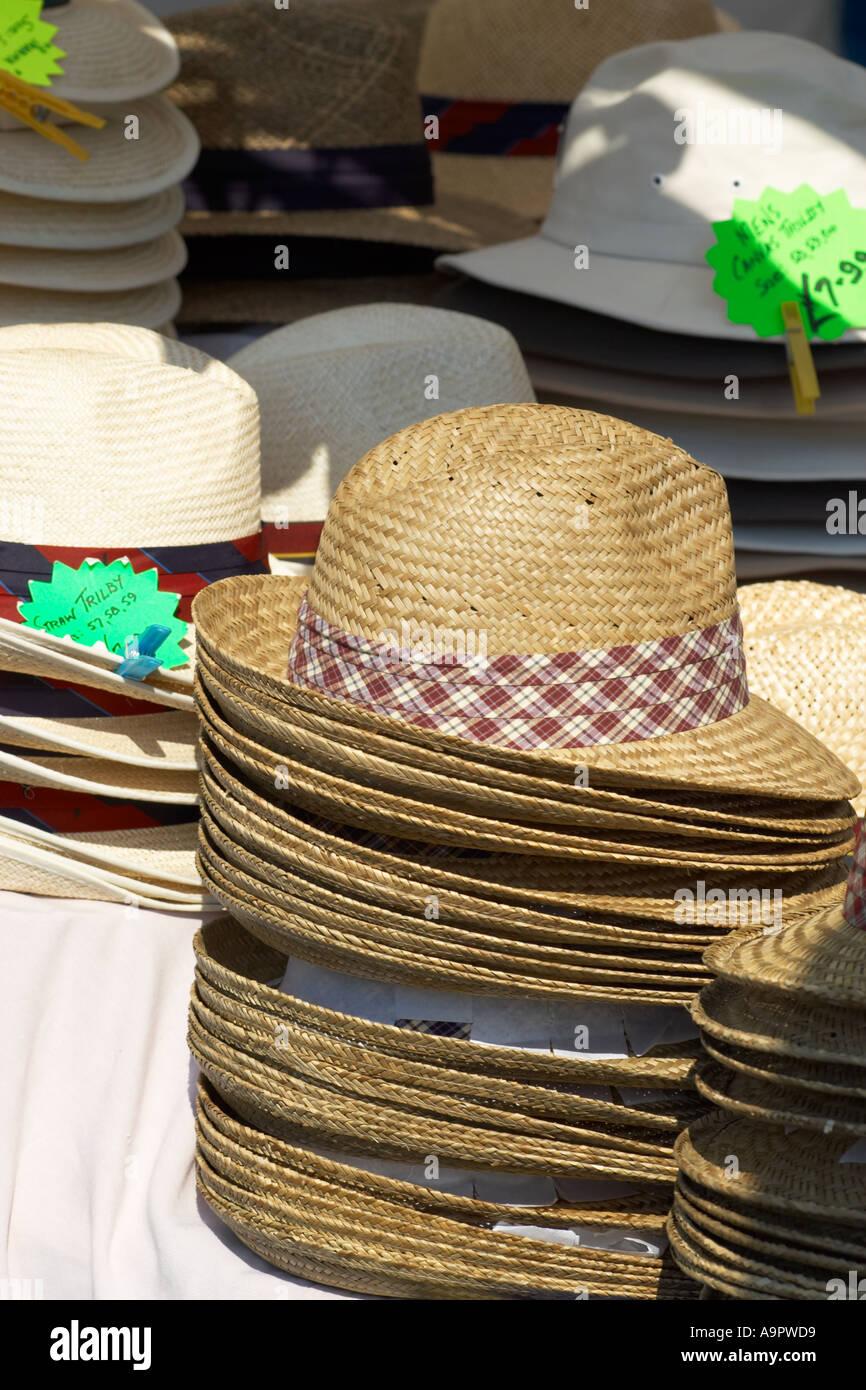 ee3b7b2de6a1a2 Hats for sale on a stall at the St Ives May bank holiday market ...