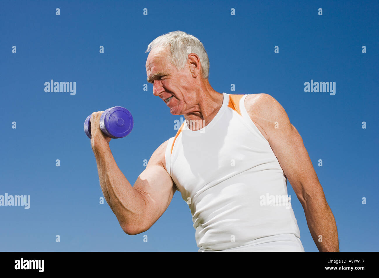 Senior adult man lifting a dumbbell Stock Photo