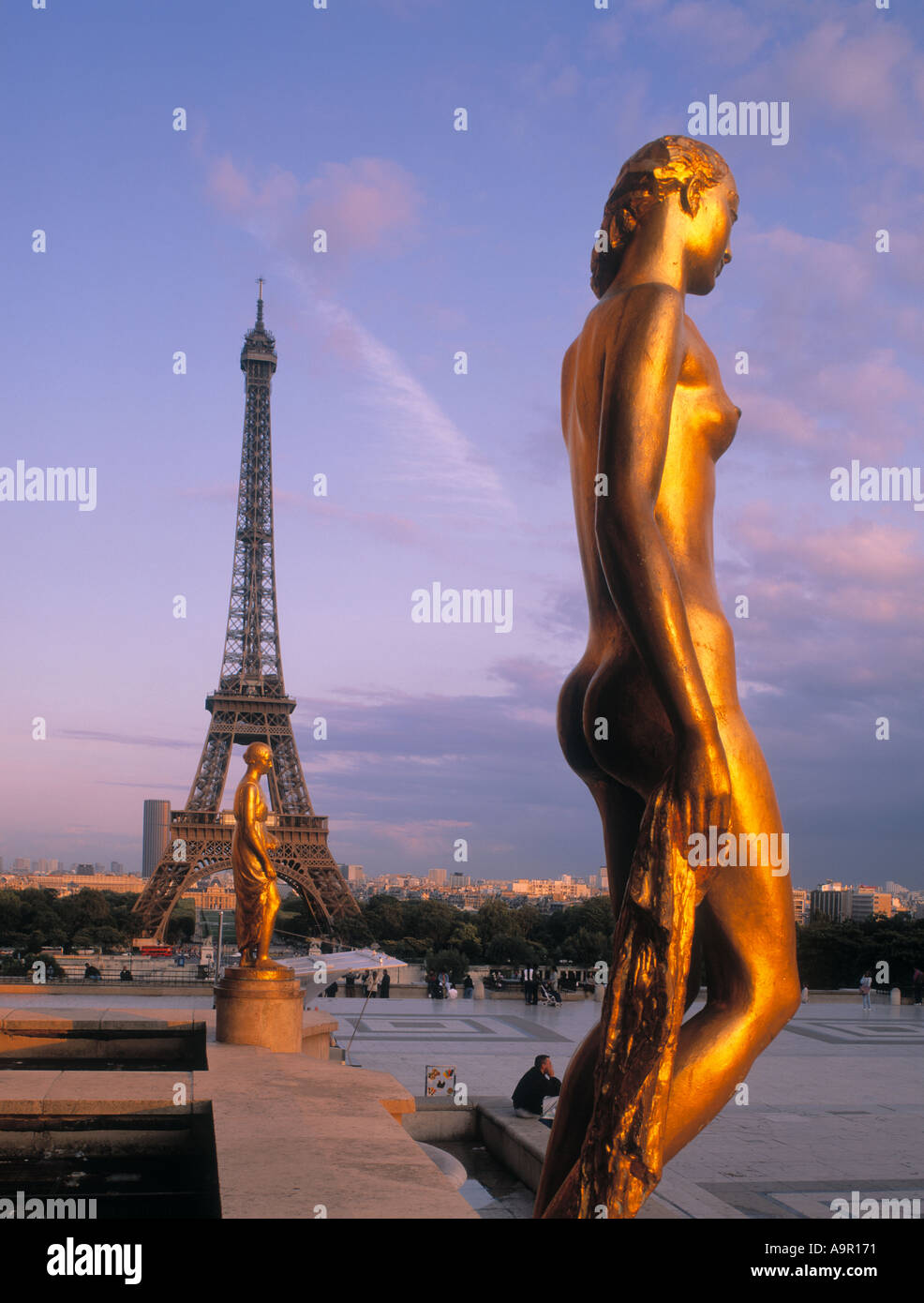 Eiffel Tower Chaillot Palace Statues Paris France at twilight - Stock Image