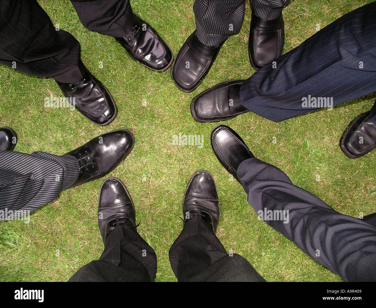 d6473eb72ee2 Abstract wedding shot of groom best man and ushers shoes Stock Photo ...
