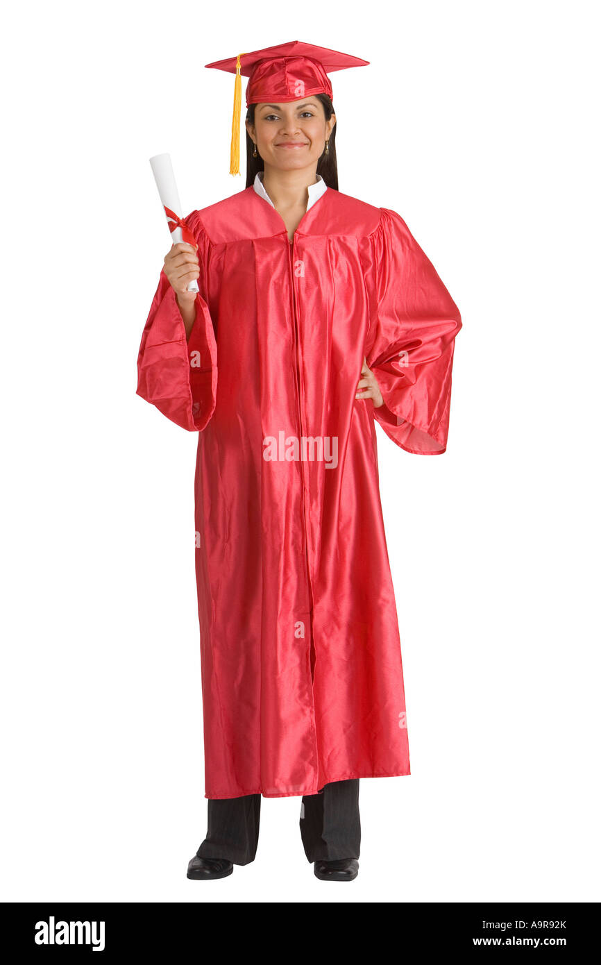 Indian woman wearing graduation cap and gown Stock Photo: 12424746 ...