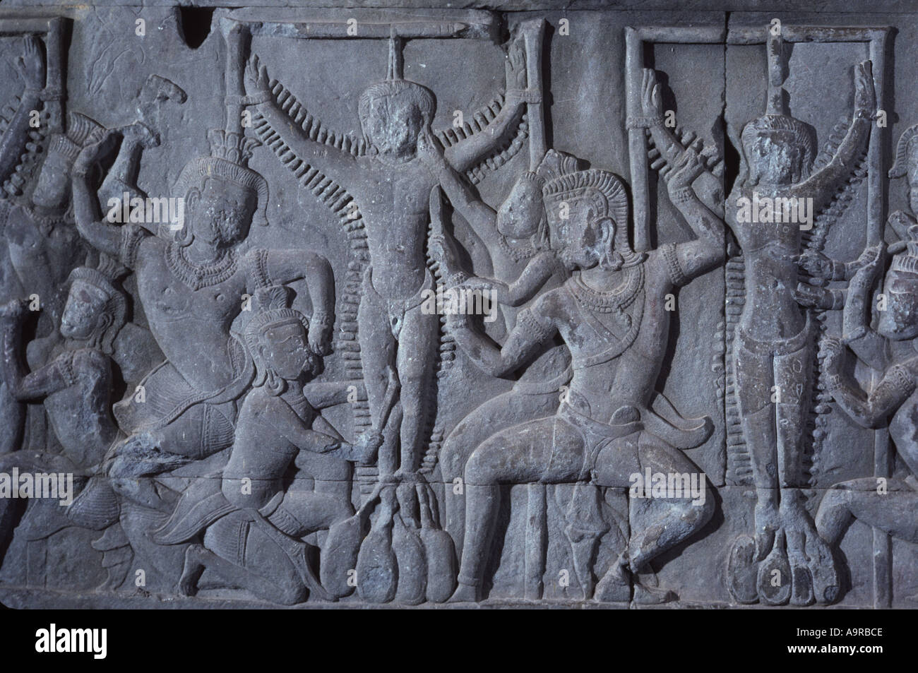 One of the 32 Hells carved in bas relief on the walls of Angkor Wat Cambodia This is the Maharaurava Hell for unspecified sin - Stock Image