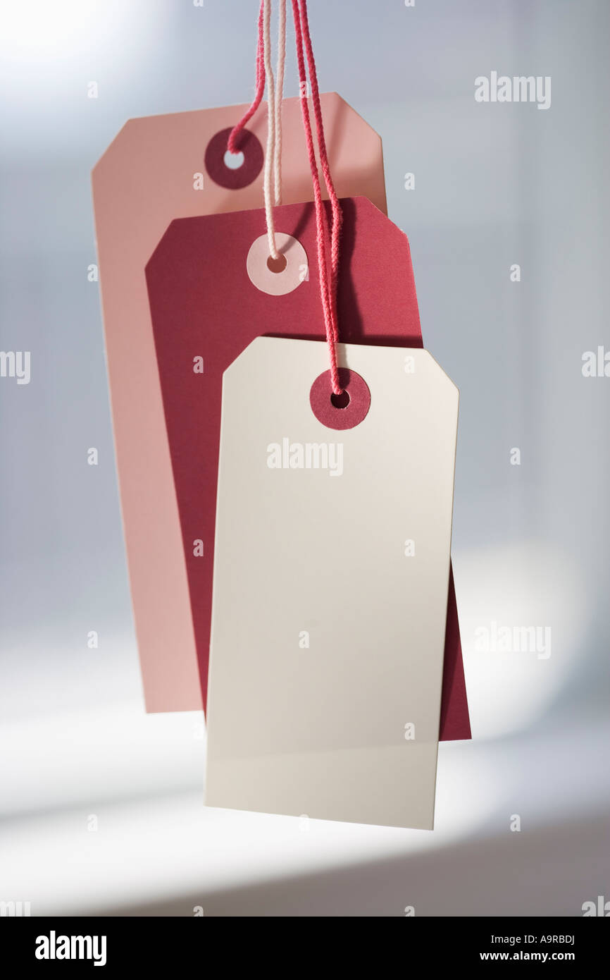 Close up of blank price tags - Stock Image
