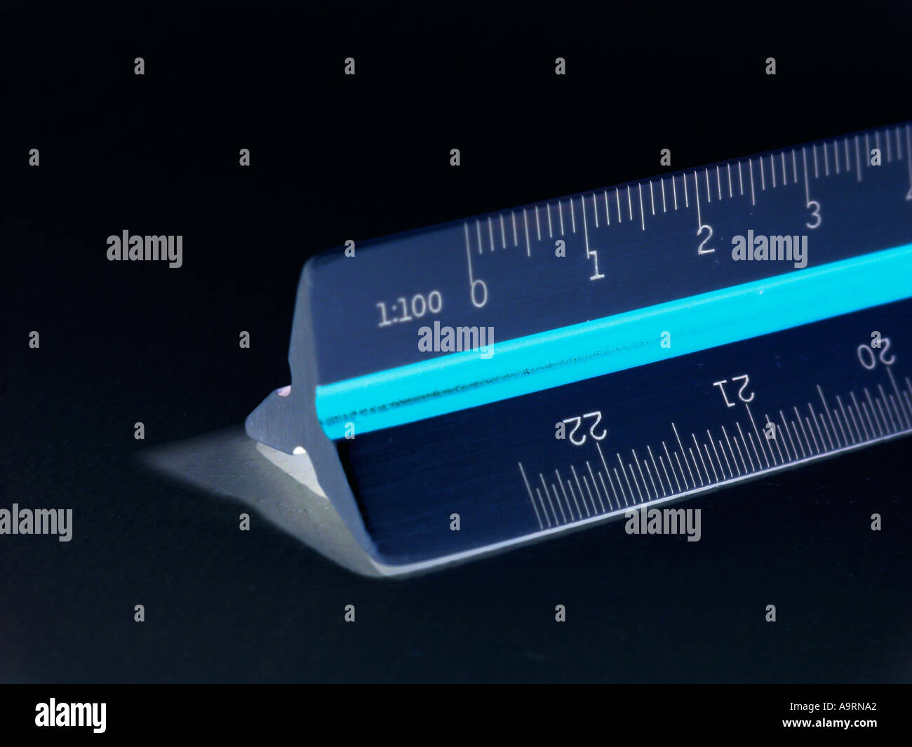 metric ruler showing milimeters as a symbol of the metric system - Stock Image