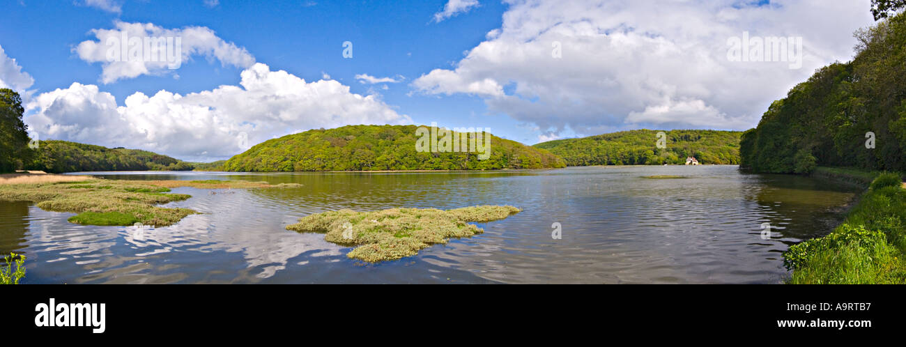 Panorama of Erme Estuary Devon UK - Stock Image