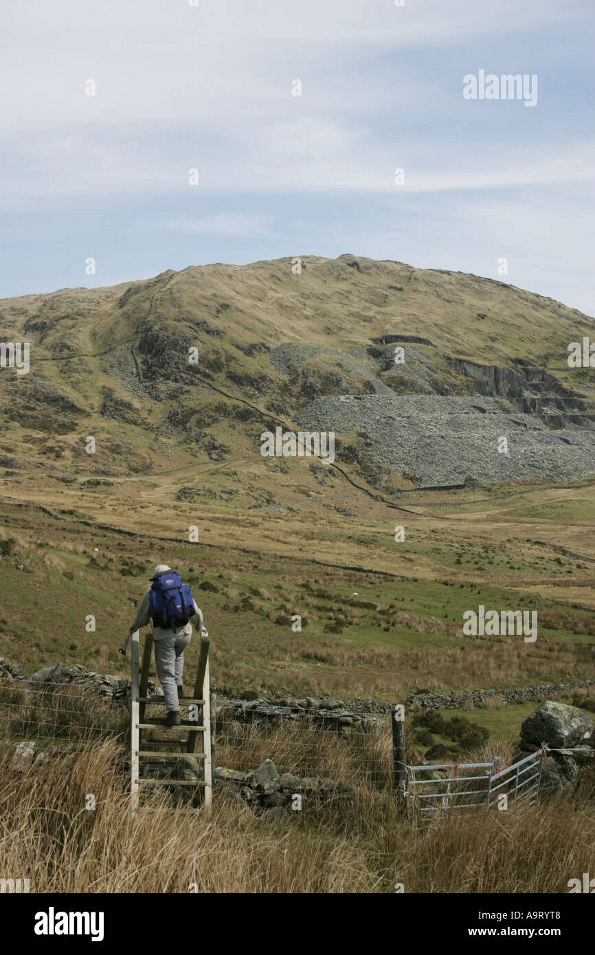 Approaching Moel Hebog from the south-west in Snowdonia, North Wales Stock Photo