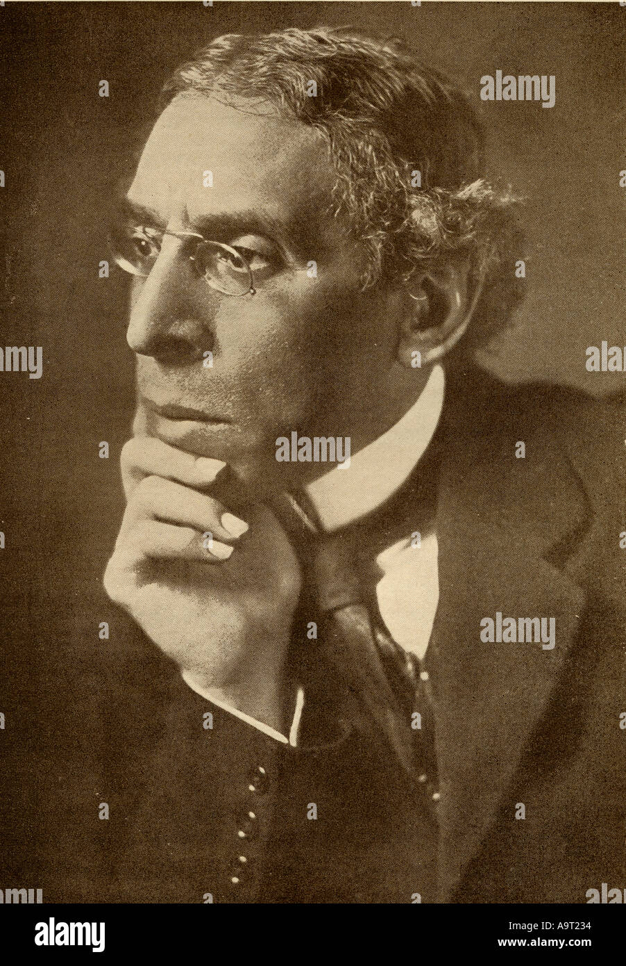 Israel Zangwill, 1864 -1926. English novelist.  From the book The Masterpiece Library of Short Stories, English, Volume 9. - Stock Image
