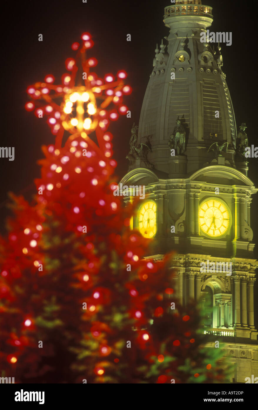 christmas tree lights city hall philadelphia pennsylvania usa stock