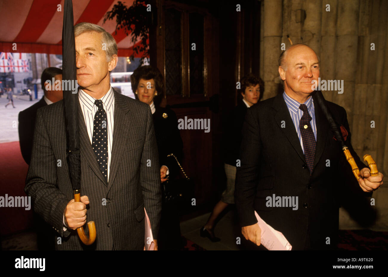 Mace bearers use umbrellas substitute rehearsal Lord Mayor of London banquet in the GuildHall England HOMER SYKES - Stock Image