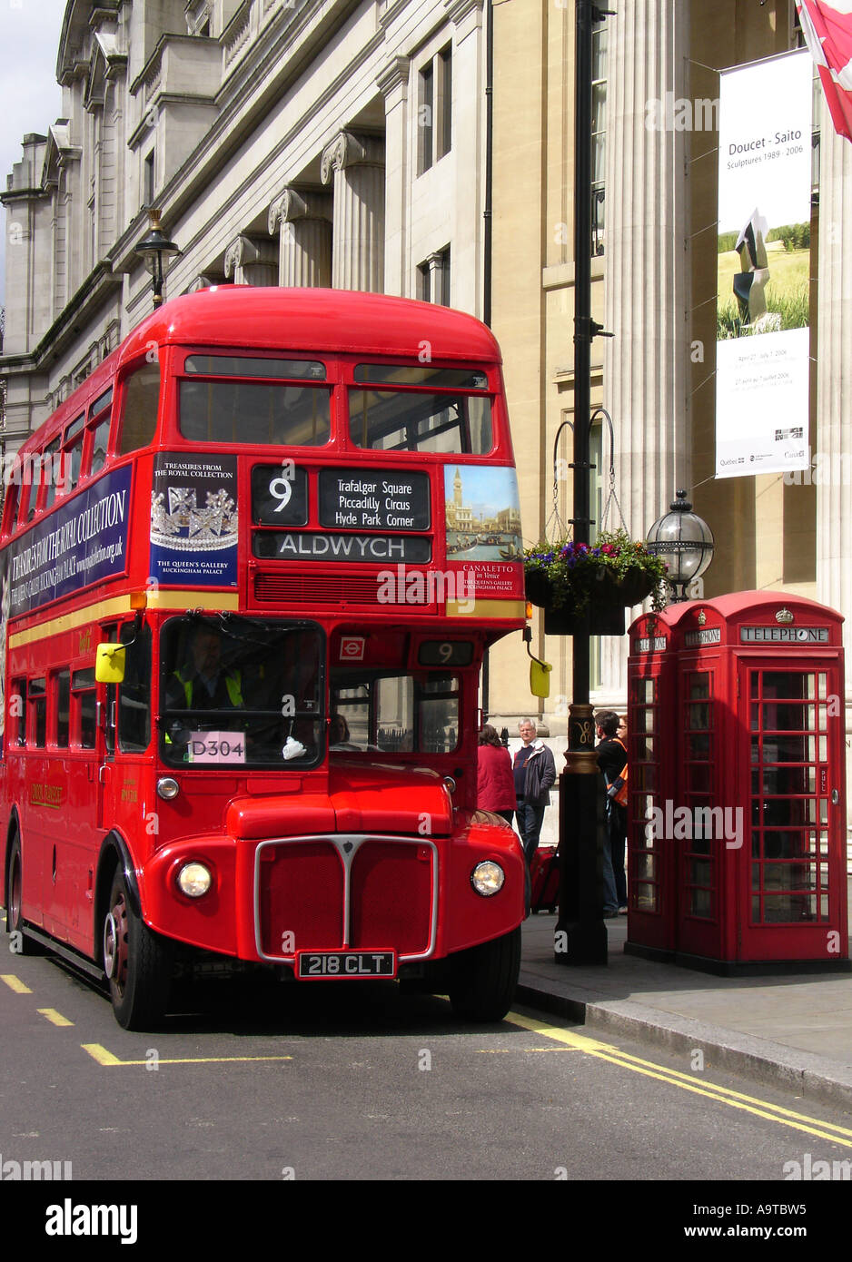 A London AEC Routemaster, RML 2473 Double decker bus on route 9, downtown London England UK - Stock Image
