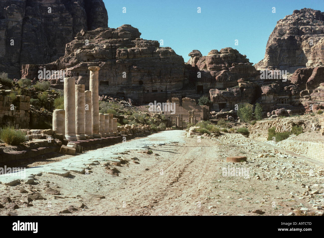 The colonnade street Petra s main street from the first century A D Jordan Middle East Arabia Asia Rose red city Stock Photo