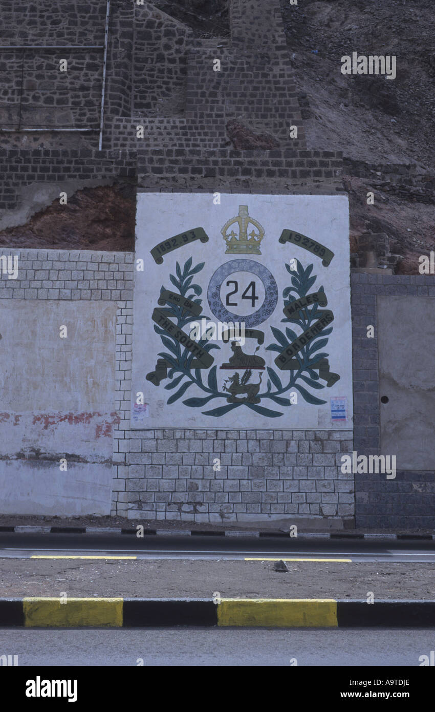 Plaque to THE SOUTH WALES BORDERERS THE 24th REGIMENT OF FOOT At a bridge in Aden Republic of Yemen Yemen Arab Republic Arabia - Stock Image