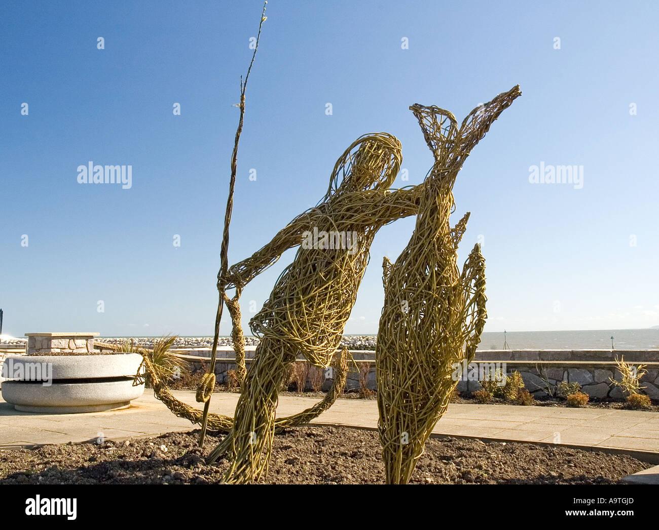 Wicker Statue, Rhos on Sea Promenade, Colwyn Bay, Conwy, North East Wales - Stock Image