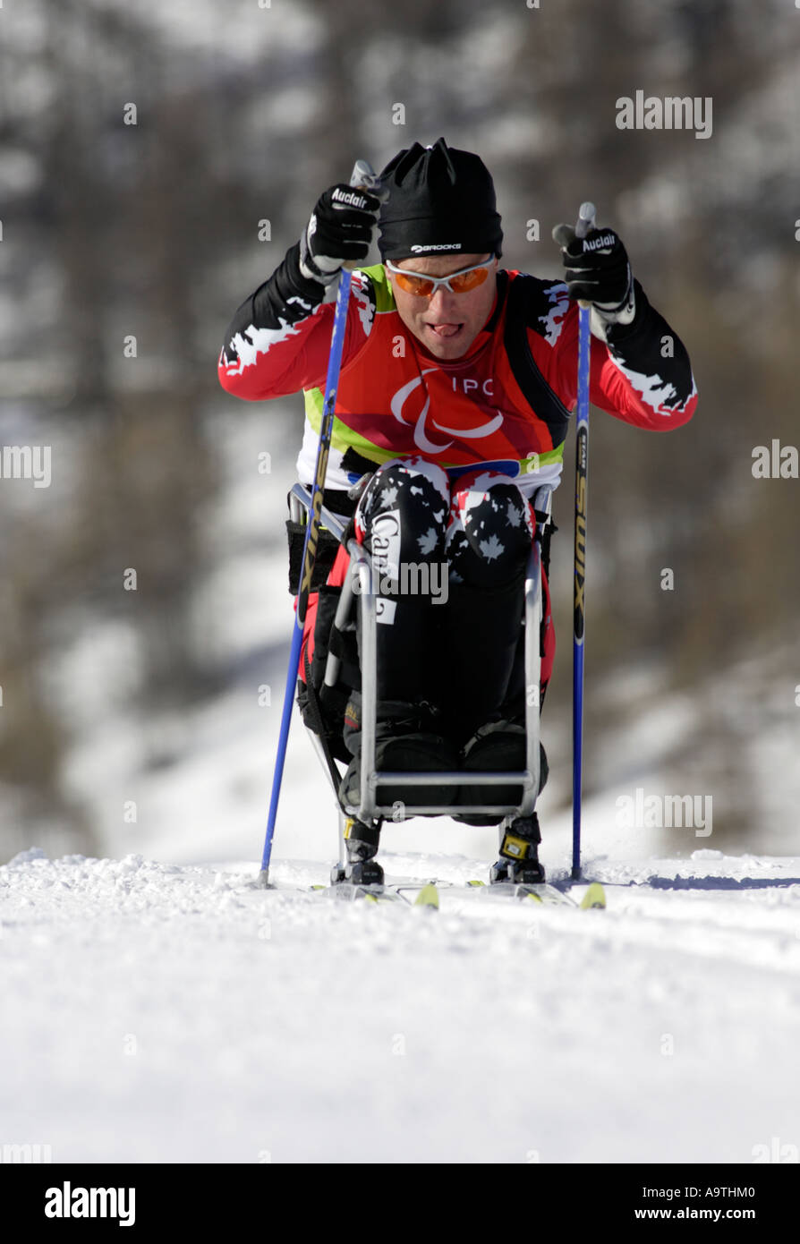Jimmy Pelletier of Canada competes in the Mens Cross Country Skiing 5km Sitting - Stock Image