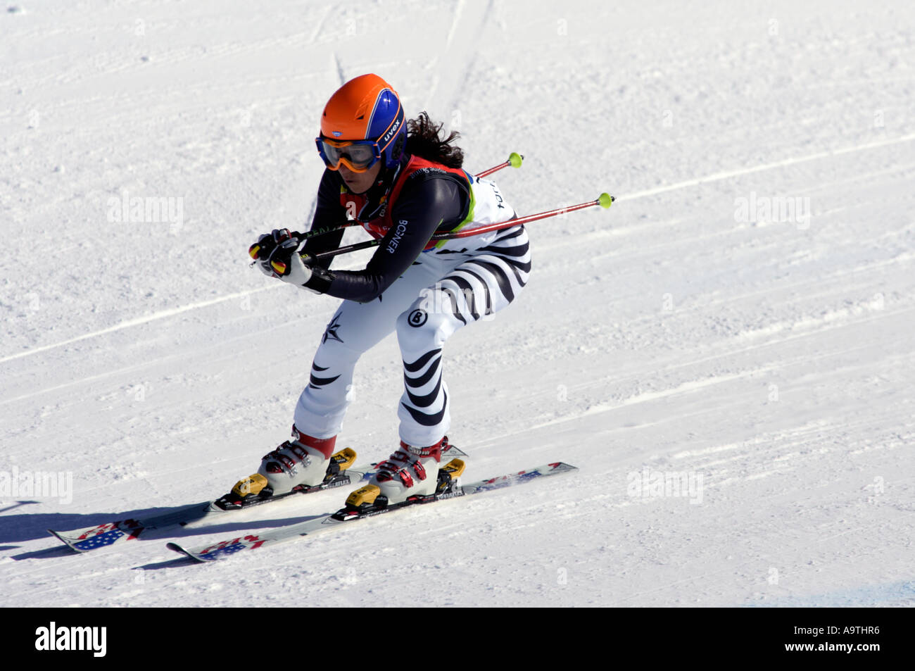 Reinhild Moeller LW4 of Germany in the Womens Alpine Skiing Super G competition - Stock Image