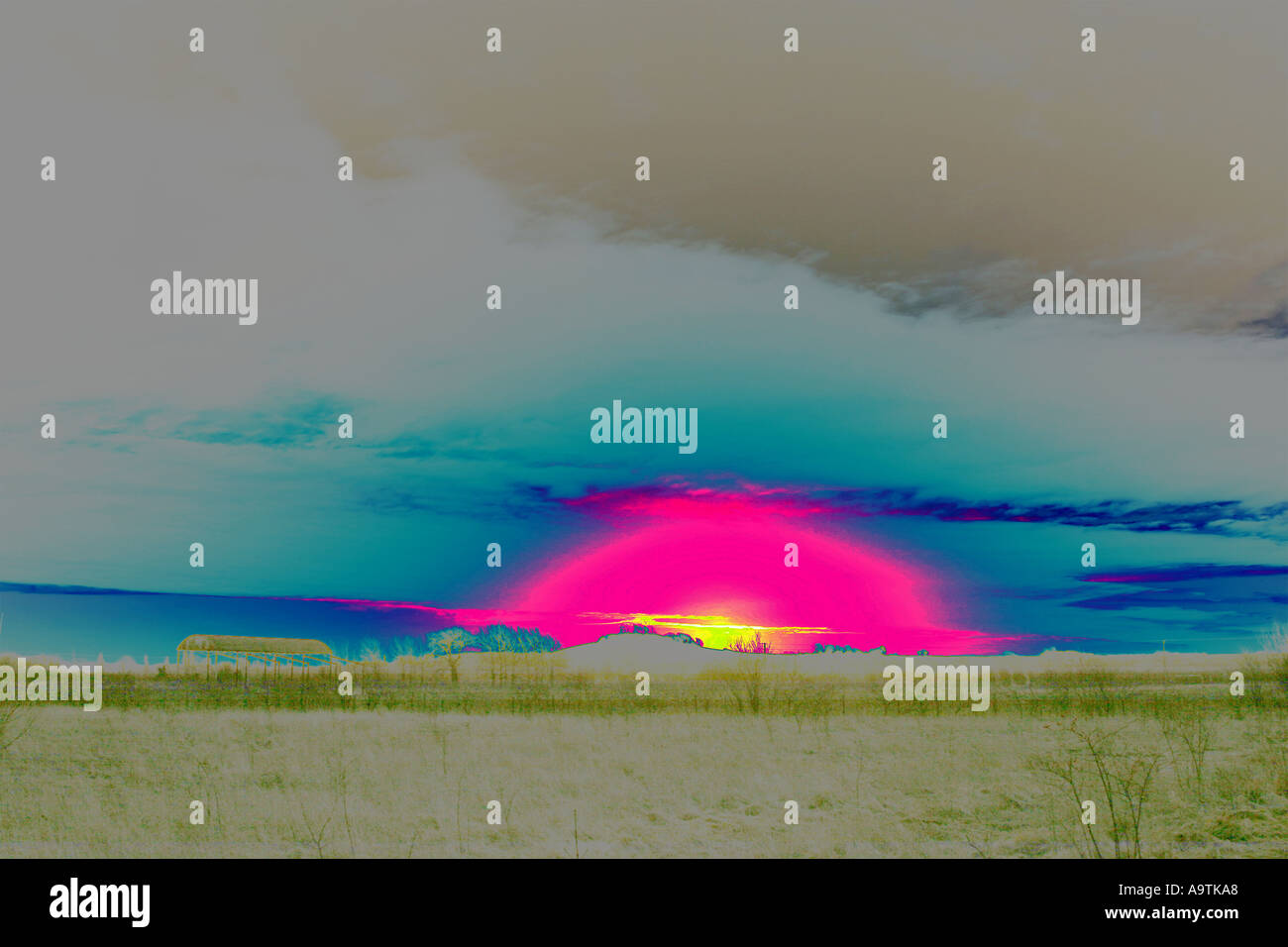 Sunrise over Wittenham Clumps - Stock Image