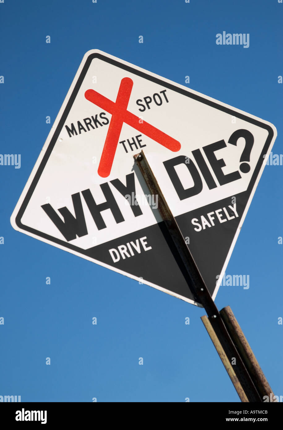 Stock photo of Fatality markers on highway,USA - Stock Image