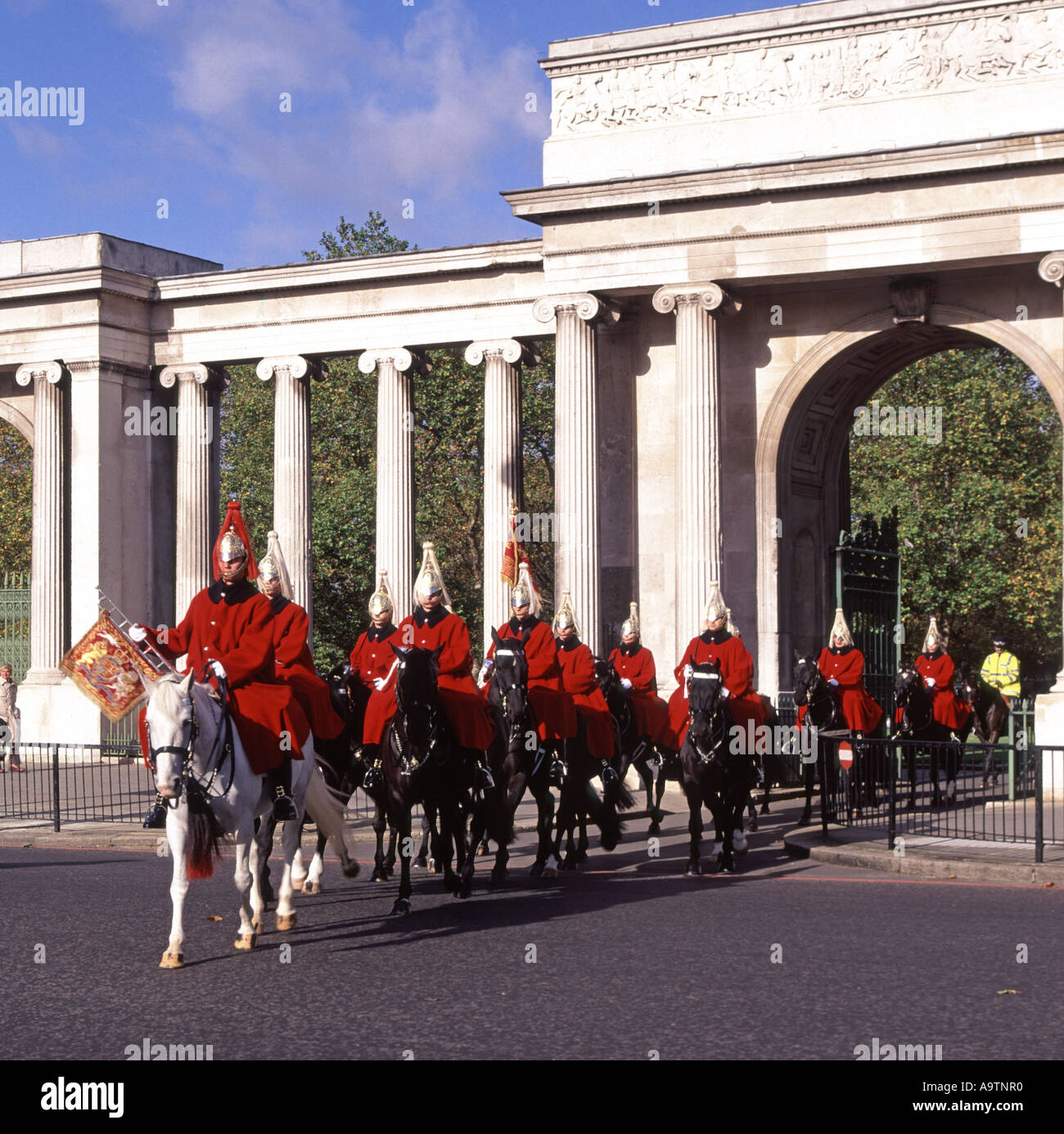 Hyde Park Corner The Household Cavalry Mounted Regiment on way to changing guard duty - Stock Image