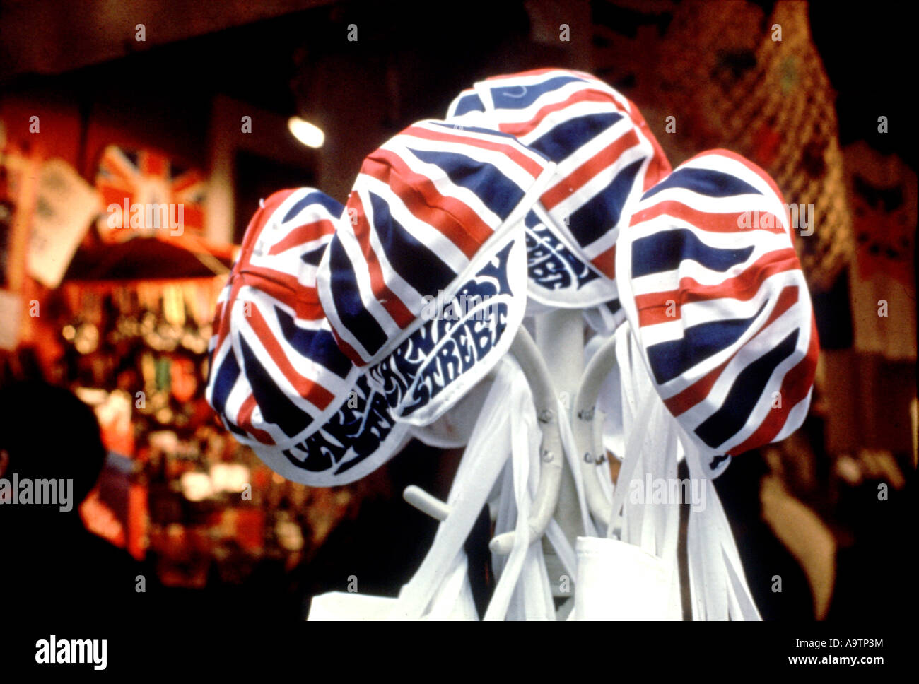 CARNABY STREET, London . Union Jack caps on sale in 1966. Photo Tony Gale - Stock Image