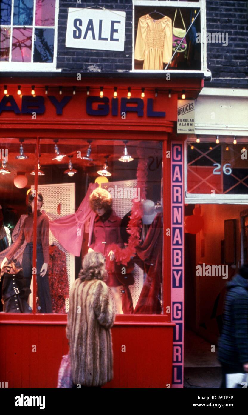 CARNABY STREET, London - shop window in 1966 - Stock Image