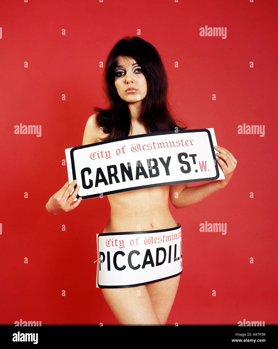 CARNABY STREET plastic street signs in 1966 - Stock Image