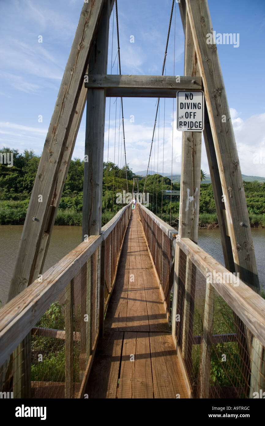 Swinging Bridge Hanapepe Kauai Hawaii Stock Photo 7107915