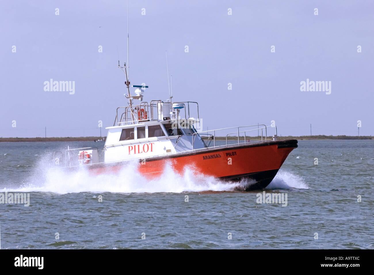 Pilot boat in Corpus Christi Bay Texas - Stock Image