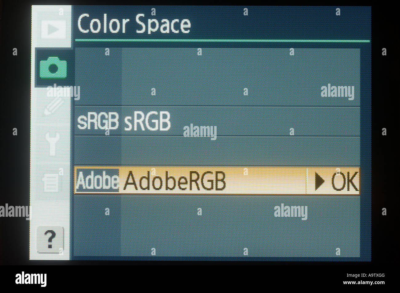 Selecting the Adobe RGB colour space on the Nikon D200 - Stock Image
