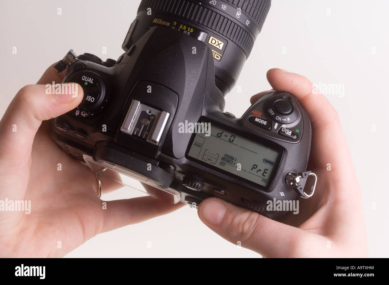 Preparing a D200 to take a reflective colour temperature reading Left thumb holds down White Balance button - Stock Image