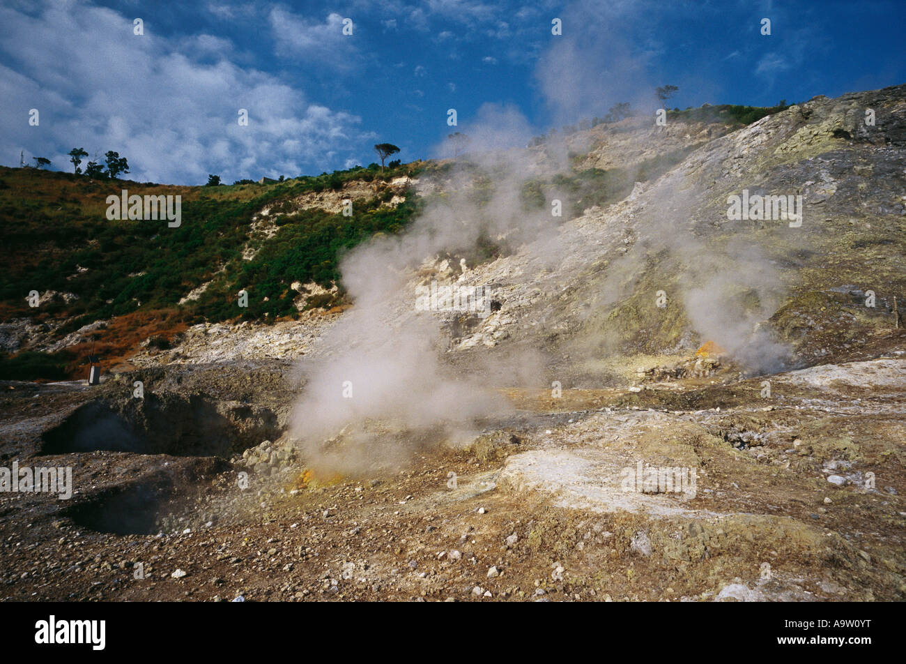 Pozzuoli Campania Italy Sulphurous steam rises up through the ground at the Solfatara active volcanic crater - Stock Image