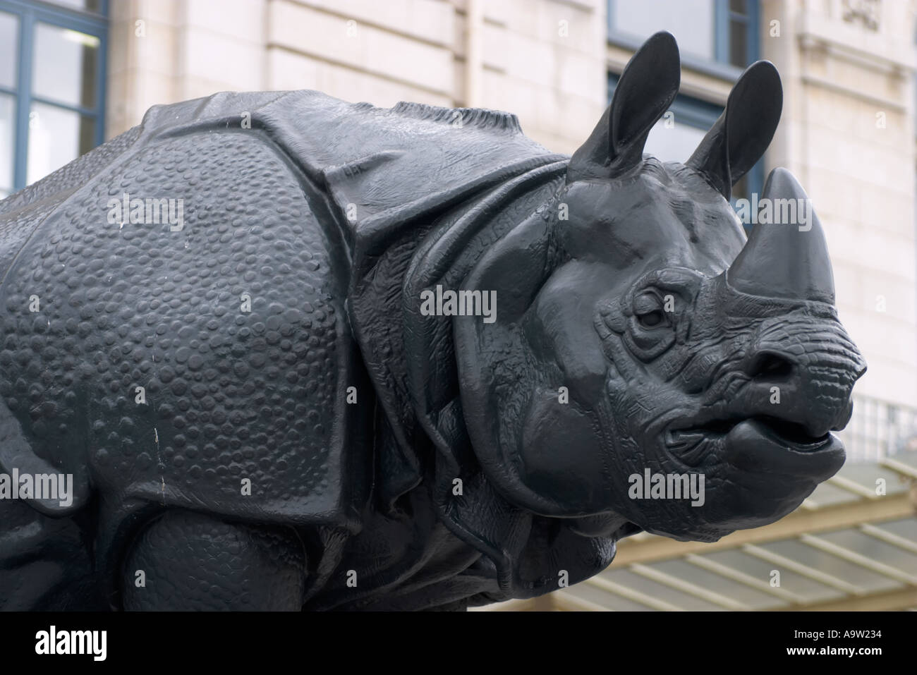 Rhinoceros statue by Henri Alfred Jacquemart (1824-1896) outside Musée d'Orsay Paris France - Stock Image