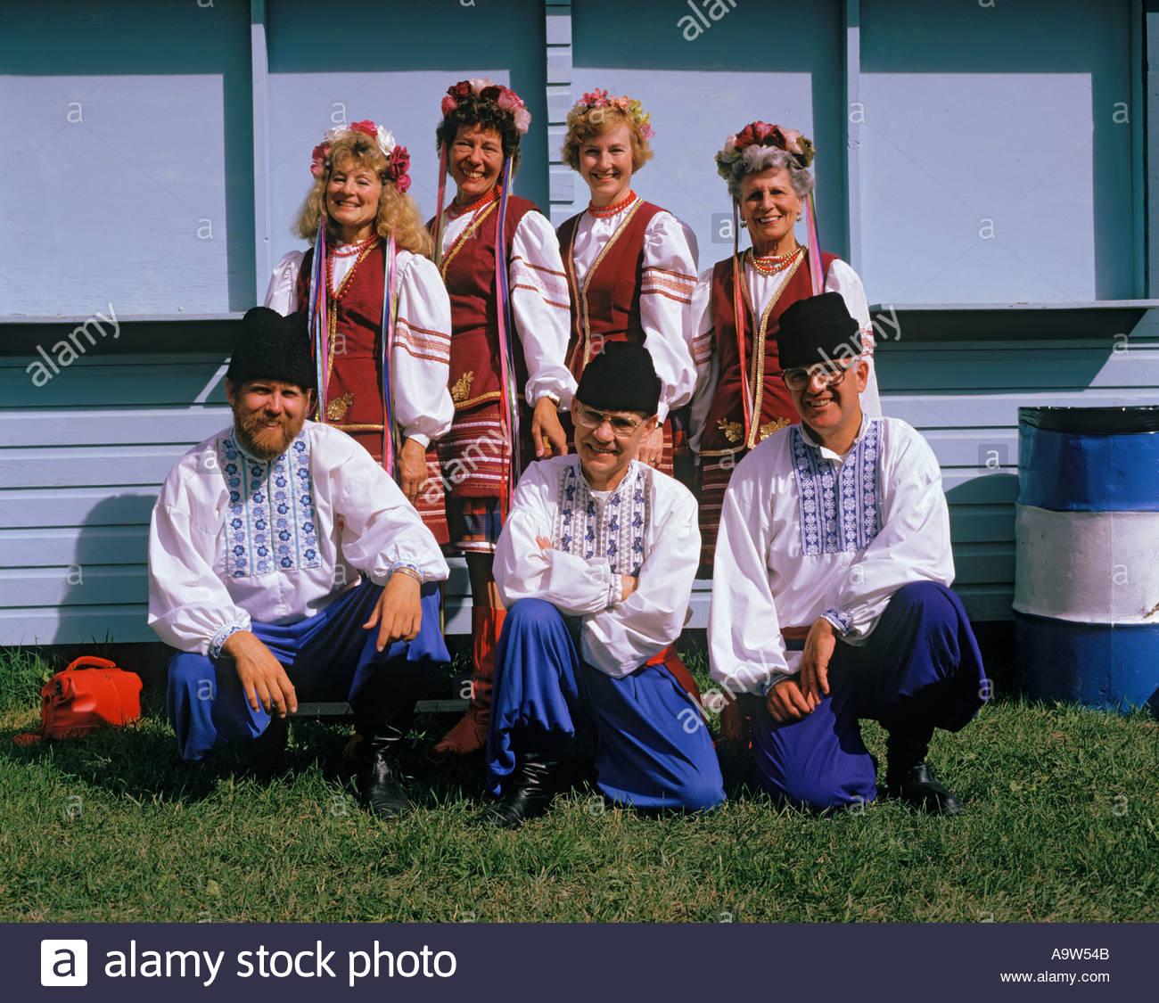Ukrainian Dance troup Discovery Days festival in Dawson City Yukon territority Canada - Stock Image
