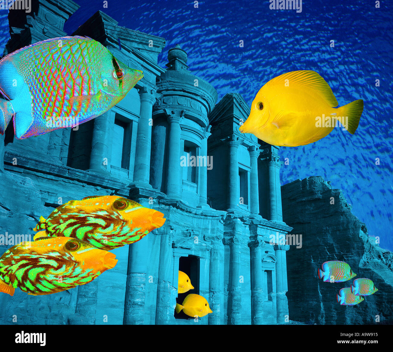 Underwater civilization (ruins of Petra, Jordan) - Stock Image